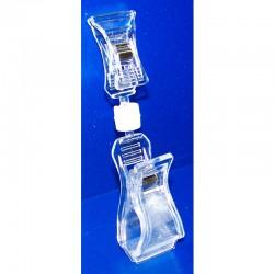 25 Pinces double PVC cristal multi-directionnelles - Petit / grand modèle