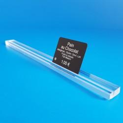 Réglette plexi à 1 rainure - TRANSPARENT - ht 8 x lg 20 mm - Prix du Mètre:
