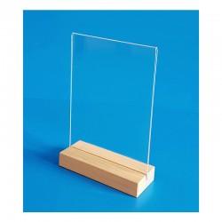 5 Supports plexi sur socle bois chêne naturel - vertical droit à poser - 2 faces