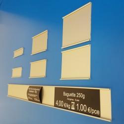 Glissière porte-étiquettes - Aluminium Ton argent - Prix du Mètre à partir de (hauteur de 20 à 90 mm):