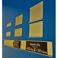 Glissière porte-étiquettes - Aluminium ton Or - Prix du Mètre à partir de (hauteur de 20 à 90 mm):