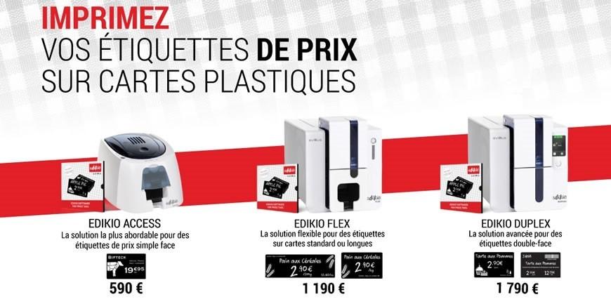 Personnalisez et imprimez vos étiquettes de prix sur cartes plastiques en toute autonomie.