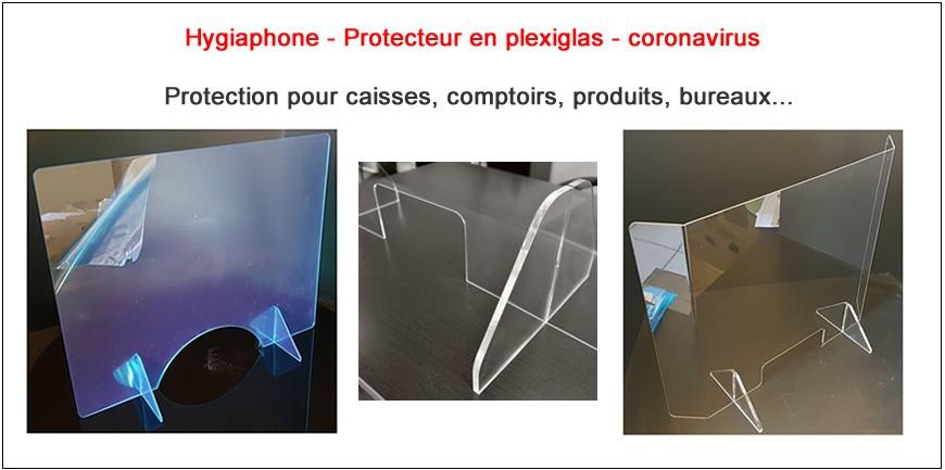 Protéction du personnel, hygiaphones pour caisses, comptoirs, bureaux...